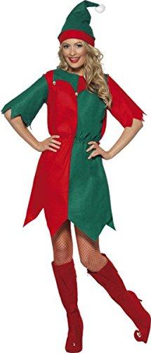 SMIFFY 'S Elf Kostüm, meine Damen Tunika Gr. S (34-36), multi (Smiffy's Elf Kostüm)