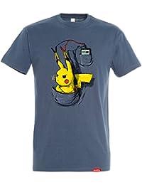 Pampling Camiseta Pikargando - Pikachu - Color Azul Denim - 100% Algodón - Serigrafía de Alta Calidad