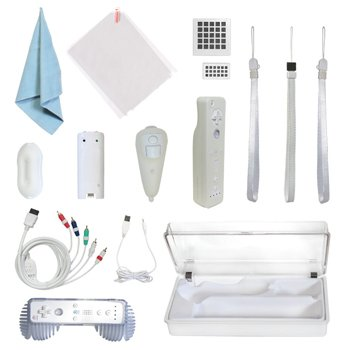 CTA für Nintendo Wii Starter-Kit / Startset 15-in-1 - mit allem Zubehör das Sie benötigen - Silikonhüllen, Reinigungstuch, Handschlaufen, Kabel, Luftfilter, Battieren, Kabelhalter, Aufbewahrungskasten, sowie USB-Kabel -