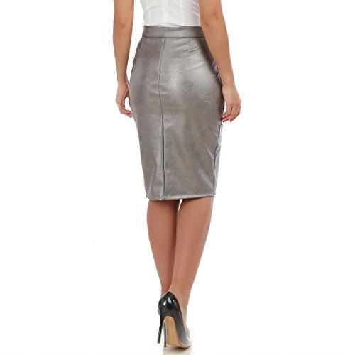 La Modeuse - Jupe longue taille hauteen simili cuir Argenté