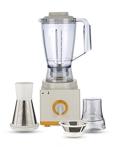 BMS Lifestyle AMR502A_Yellow 5-in-1 Food Processer, Smoothie, Wide Mouth Centrifugal Juice Extractor 2-Speed for Fruits and Vegetable with Blender, Chopper Grinder, Meat Grinder 500 W Food Processor.
