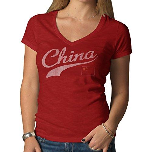 47 Brand World Cup Soccer China Damen Vintage V-Ausschnitt Scrum Country T-Shirt, Damen, Rot - Rescue Red, Large