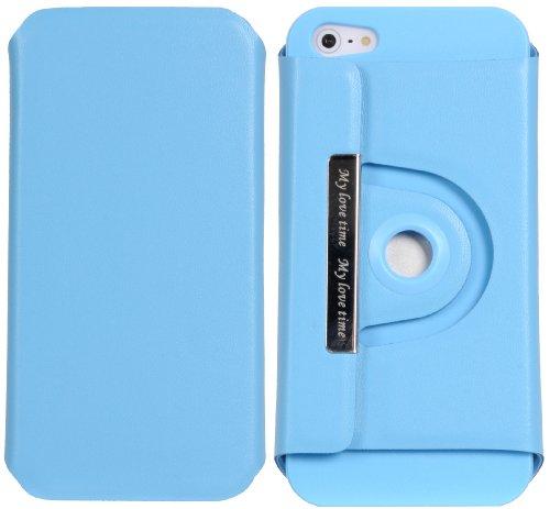 DONZO Handyhülle Flip Cover Case für das Apple iPhone 5 / 5S in Blau Flip Structure als Etui seitlich aufklappbar im Book-Style Wallet Structure 360 Blau