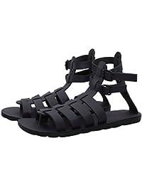 Butchi Classic Black Color Multi-Strape Long Sandal For Men