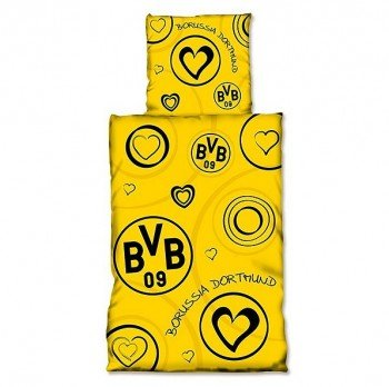 Borussia Dortmund BVB Bettwäsche mit Herzen, Baumwolle, Schwarz/Gelb, 135 x 200 x 2 cm