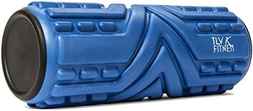 Foam Roller con Vee Design + libero esercizio - Guida TLV Fitness® profondo del tessuto muscolare massaggi, Trigger Point Sollievo, Release miofasciale - Best per lo Yoga, Pilates, di recupero, di rugby, Core allenamento -33cmx14cm- 100% di soddisfazione garantita