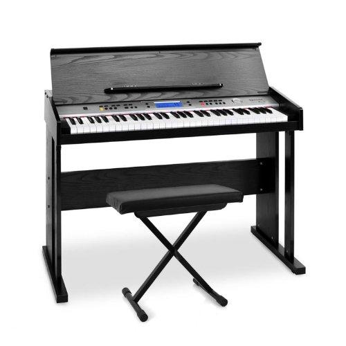 Schubert Little Strauß E-Piano Midi Keyboard-Komplett-Set mit Holz-Gehäuse inkl. Hocker (Pedal-Anschluss, 61 anschlagempfindlichen Tasten, Aufnahmefunktion und Lernfunktion) schwarz