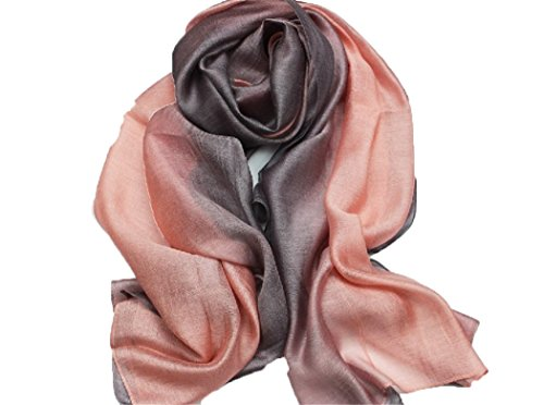 195*70cm Elegant stillvoll Seide Halstuch Stola Schal Farbverlauf Geschenk Freundin Damen (Rosa) (Damen Halstuch)
