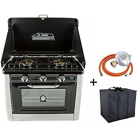 Cocina-horno portátil para exterior (butano, propano, GLP y camping gas). Dos hornillas, horno de 3,8