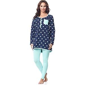Be-Mammy-Premam-Pijama-Conjunto-Camiseta-y-Leggins-Embarazo-Lactancia-Maternidad-Vestidos-de-Cama-Mujer-BE20-178Marino-Corazn-Turquesa-L