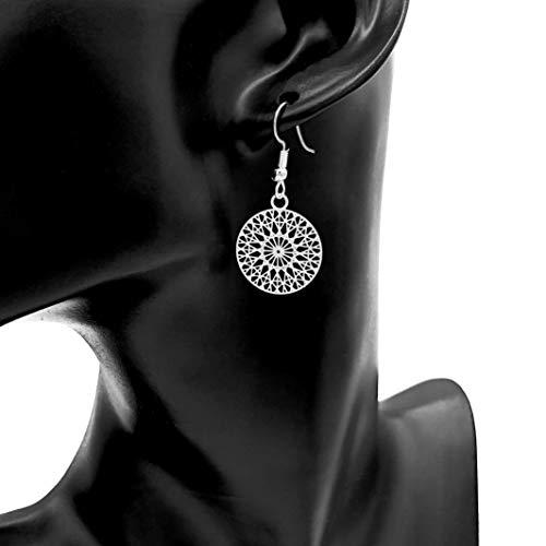 Ohrringe WHEEL OF DESTINY rund versilbert hängend handmade einzigartig Damen Mädchen Schmuck Design modern filigran Muster Jugendstil Mandala