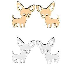 Mengonee Women Small Chihuahua Earrings Female Pet Dog Ear Studs Girls Alloy Animal Stud Earrings