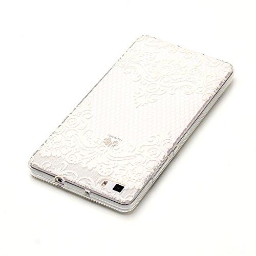 Huawei P8 Lite Hülle, E-Lush TPU Soft Silikon Tasche Transparent Schale Clear Klar Hanytasche für Huawei P8 Lite Durchsichtig Rückschale Ultra Slim Thin Dünne Schutzhülle Weiche Flexibel Handyhülle Kr Spitze Blumen nach unten