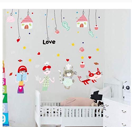 Schwarz Fischgräten-anzug (Entfernbare selbstklebende Wandaufkleber Katzen- und Fischgräten Kinderzimmer Babyzimmer Wandaufkleber Kleintieraufkleber 115 * 93cm)