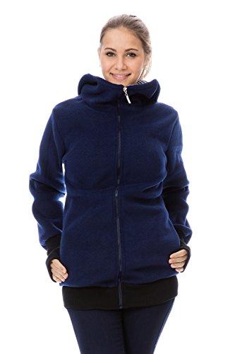 GoFuture Damen Umstandsjacke Hallå 4in1 Fleece mit Hochkragen GF2307XC5 Marine mit marineweißen Streifen