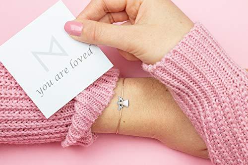 Imagen de pulsera de ángel de la guarda de milosa, plata, hecha a mano y ajustable en tamaño, amuleto de la suerte para mujeres y niñas, colgante de ángel, pulsera de macramé beige alternativa