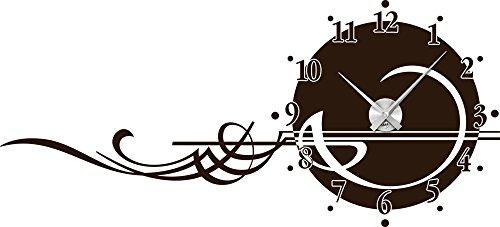 Graz Design 800133_AL_080 Wandtattoo Wandaufkleber Designer Uhr Wanduhr mit gezeichneten Ornamenten Deko für Wohnzimmer (Uhr Silber gebürstet /Aufkleber Braun)