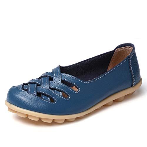 JRenok Beiläufige Müßiggänger-Schuh-Frauen-Sandelholz-Ebenen mit aushöhlen Runde Zehe im Freienbequeme ()
