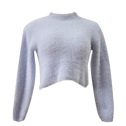 Ouneed® Femme Pelucheux Pull Court Gris