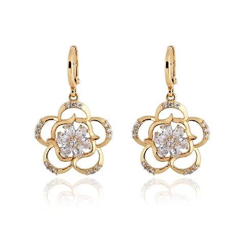 X&Y ANGEL- Women Amethyst Drop 18K Gold Filled Flower Dangle Hoop Earrings drop 3 Colors ER0232