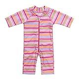 Attraco Baby Mädchen Jungen Rash Vest UV-Einteiler Rash Guard Bademode UPF 50+ Gr. 86, rosa Streifen