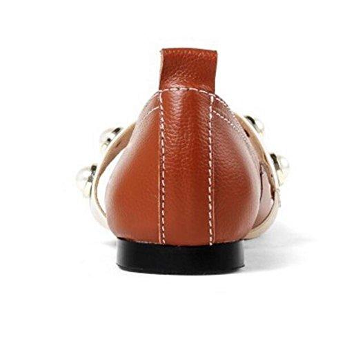 Scarpe da donna vera pelle Retro Punta Quadrata Perla del collo del piede Cinghia piatta Taglia 35To39 Brown