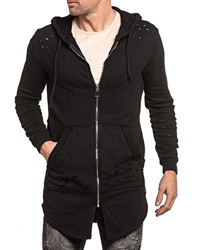 BLZ jeans - Gilet homme noir oversize troué à capuche Noir