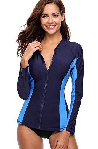 Charmo Damen Rash Guard UV-Schutz (UPF 50+) mit Reißverschluss Rash Vest Sonnen Schutz Kontrast Blau & Dunkelblau L