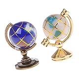 D DOLITY 2pcs Miniatur Globus Weltkugel Mit Ständer Für 1:12 Puppenstube Büro Schreibtisch Deko