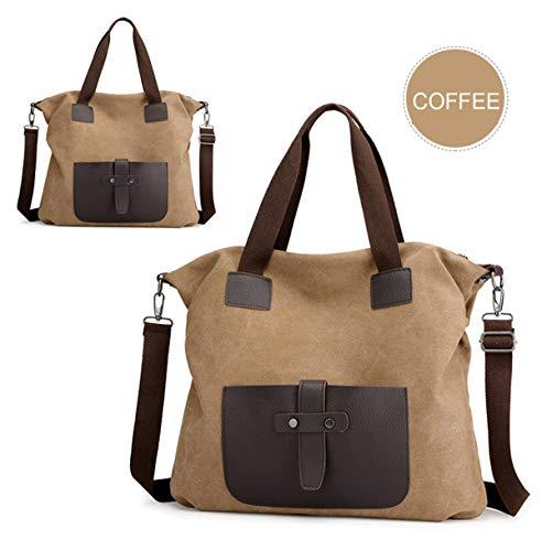 Mode Lässig Langlebig Leinwand Extra Große Kapazität Tote Bag Umhängetasche für Frauen Hobo Handtaschen Leinwand Umhängetasche für Arbeit einkaufen Reise Top-Handtaschen 2019 (Kaffee) -