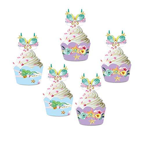 Howaf Meerjungfrau Cupcake Toppers und Wrappers, Meerjungfrau Muffins Dessert Kuchen Dekoration Verpackung für mädchen Meerjungfrau Kindergeburtstag Deko, Baby Dusche, Hochzeit (24 Stücke)