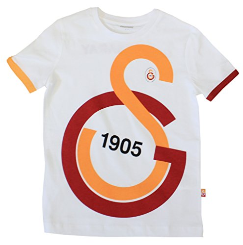 Kinder Galatasaray T-Shirt - Trikot Look LOGO (Weiß, 116)