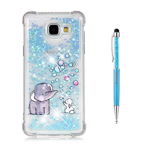 Galaxy A5 2016 Hülle,Grandoin 3D Bling Flüssig Fließende Schwimmende Shiny Sparkle Glitter Crystal Ultra Dünn Weiche TPU Silikon Schutz Handy Case Cover für Samsung Galaxy A5 2016 / A510 (Elefant)