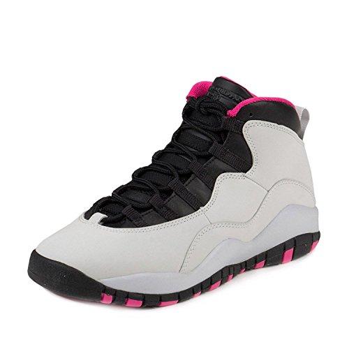 Nike Air Jordan 10Retro GS Pure Platinum/Pink/Weiß/Schwarz 487211-008 Grau