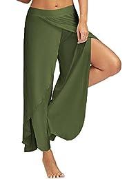 VJGOAL Mujeres Verano Casual Color sólido Sexy Slit Flowy Pantalones Anchos  de Pierna Pantalones Sueltos de e9e6516512c