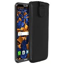 mumbi Borsa in vera pelle compatibile con Huawei P20 Lite, (Linguetta con funzione di retrazione, supporto estraibile), nero