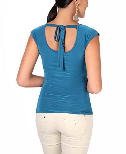 KRISP® Damen Elegantes Stretch Top mit Wasserfallkragen Petrol (3540)