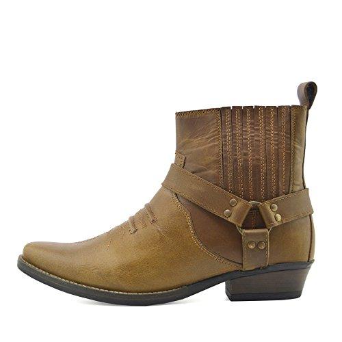 dab37dc124819d Kick Footwear Botas de Cowboy de Cuero Tobillo Botas de Motero
