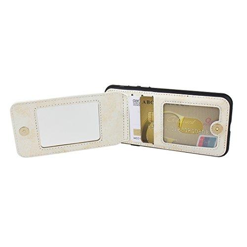 iPhone 7 Wallet Hülle, Rosa Schleife Weiche TPU Silikon Schutzhülle Stand Handyhuelle Backcover Brieftasche Tasche Kartensteckplatz Mirror Cases mit Vintage Mandala Muster Design für iPhone 7 Weiß Weiß