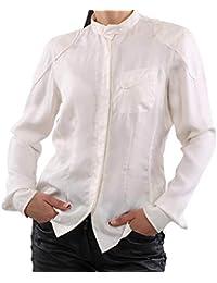 MATCHLESS Damen Chiffon Seiden Bluse Shirt JANE White Größe S