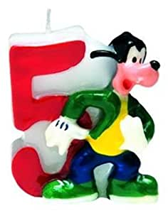 Mickey Mouse Party - Mickey & Friends Birthday Cake Candle - Number 5
