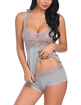 Scallop Conjunto de Pijamas de Lencería Sexy para Mujer Camisión de Encaje Escarpado
