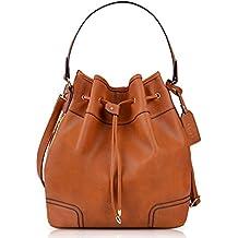 Bolso Bandolera Mujer, COOFIT Bucket Bag Bolso Cuero Diseño Original Bolsa de Mano Mujer Bolsa Hombro Vintage Bolso Shopper