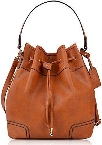 Beuteltasche Damen, COOFIT Bucket Bag Umhängetasche Damen Handtasche Plastik (PU Kunstleder) Schultertasche Original Design Umhänge Handtasche Shopper Henkeltasche  (Original-designer-taschen)