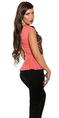 KouCla Top mit Schößchen und Spitze - Elegantes Party & Freizeit Shirt Stickerei - Gr. S,M,L (ISF18531+A) 2 Coral