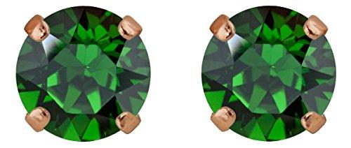 Rosi classique boucles d'oreille Medium 9mm, or rose plaqué or Dark Moss Green