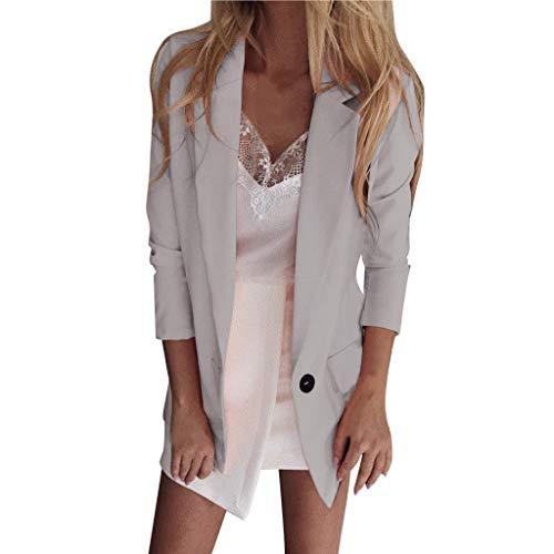 Supertong Damen Cardigan Elegant Blazer Langärmliger Anzugjacke Einfarbig Blazer Business Slim Fit Bolero Jacke Anzug Trenchcoat Windbreaker mit Tasche Knit Blazer-jacke