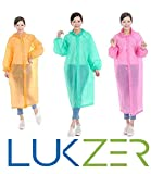 #4: LUKZER Unisex Disposable Rain Poncho Raincoat with Hood for Camping, Hiking, Outdoor Sports, Adventure Sports made of High Quality Plastic (Set of 3 Pcs), Multi Color