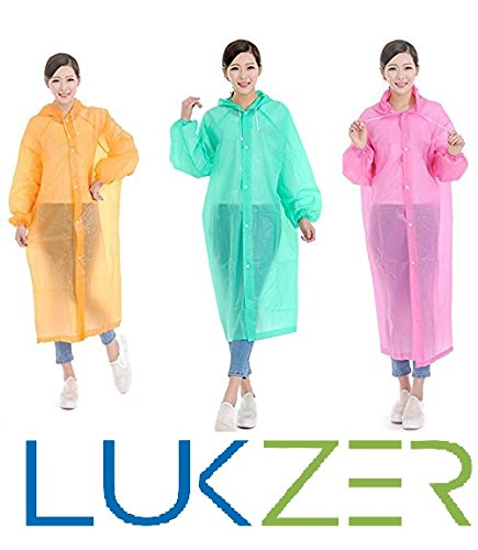 LUKZER Unisex Disposable Rain Poncho Raincoat with Hood for Camping, Hiking, Outdoor Sports, Adventure Sports made of High Quality Plastic (Set of 3 Pcs), Multi Color
