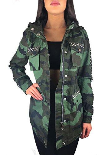 Worldclassca Damen Camouflage Parka Jacke MILITÄR GRÜN ÜBERGANGSJACKE TARN Mantel Nieten Retro Blouson Army Parka Trenchcoat LANG MIT REIßVERSCHLUSS Kapuze Zip (XL, Camouflage 25)